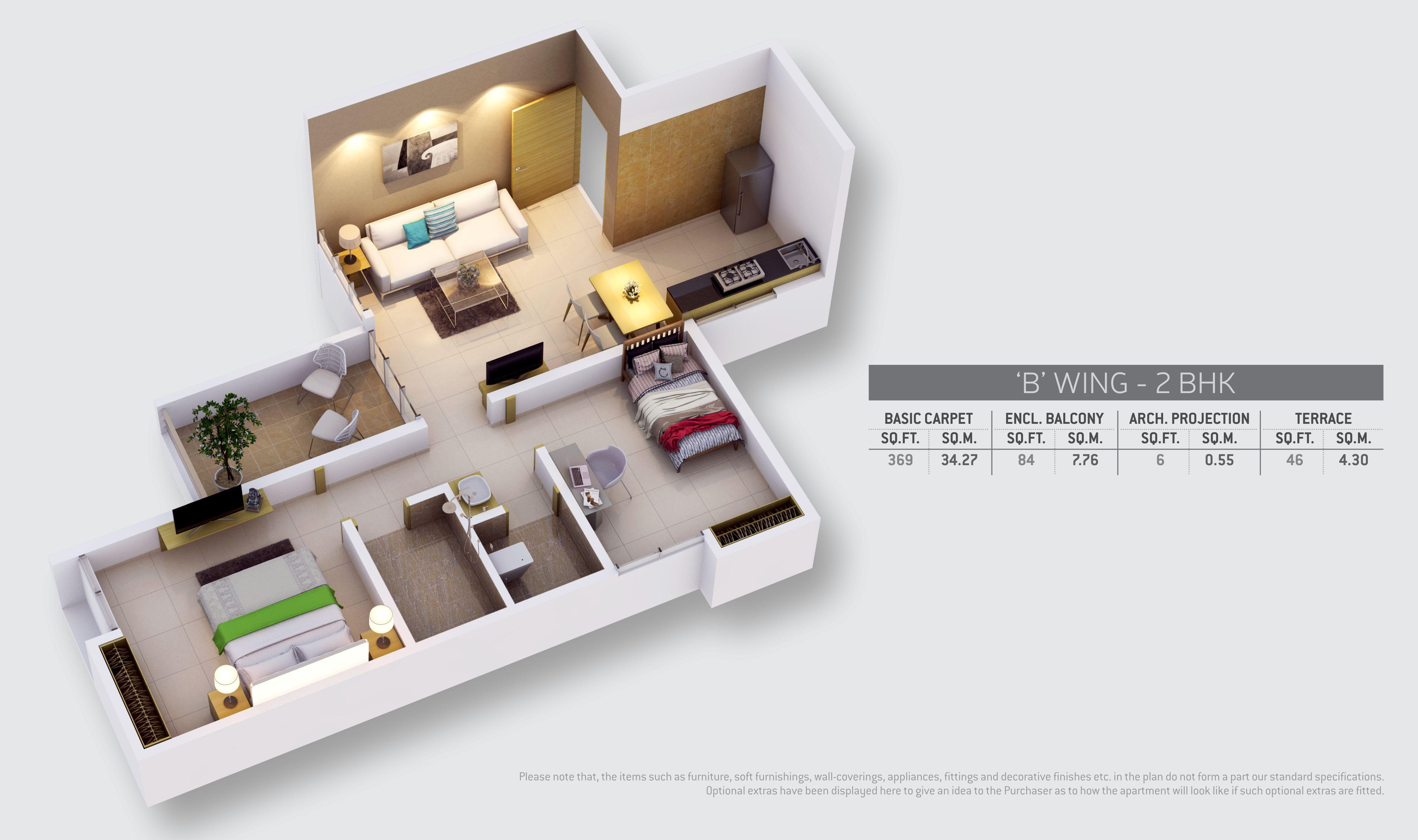 2 BHK flats in Wagholi Floor Plan