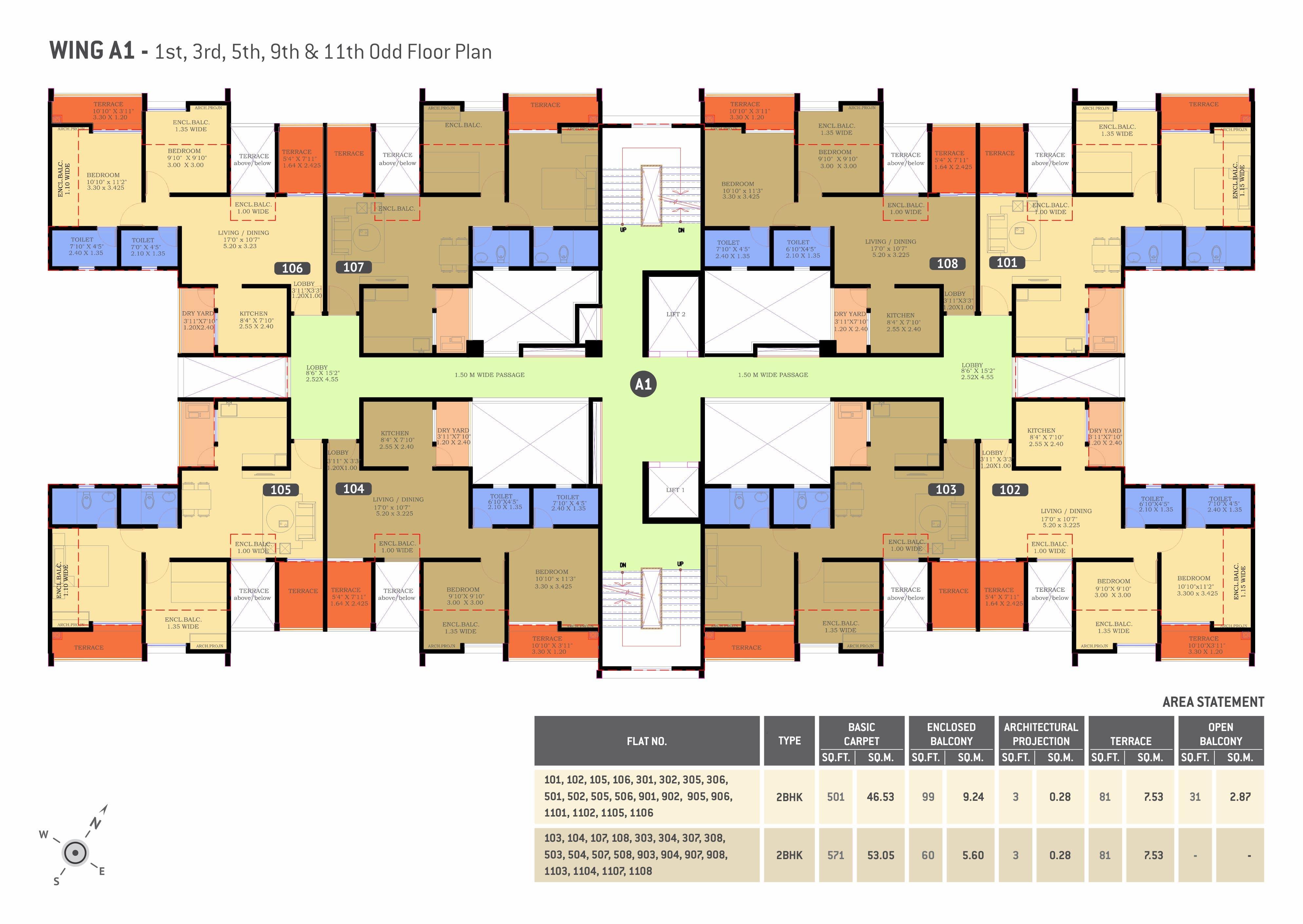 2 BHK flats in Undri Floor Plan