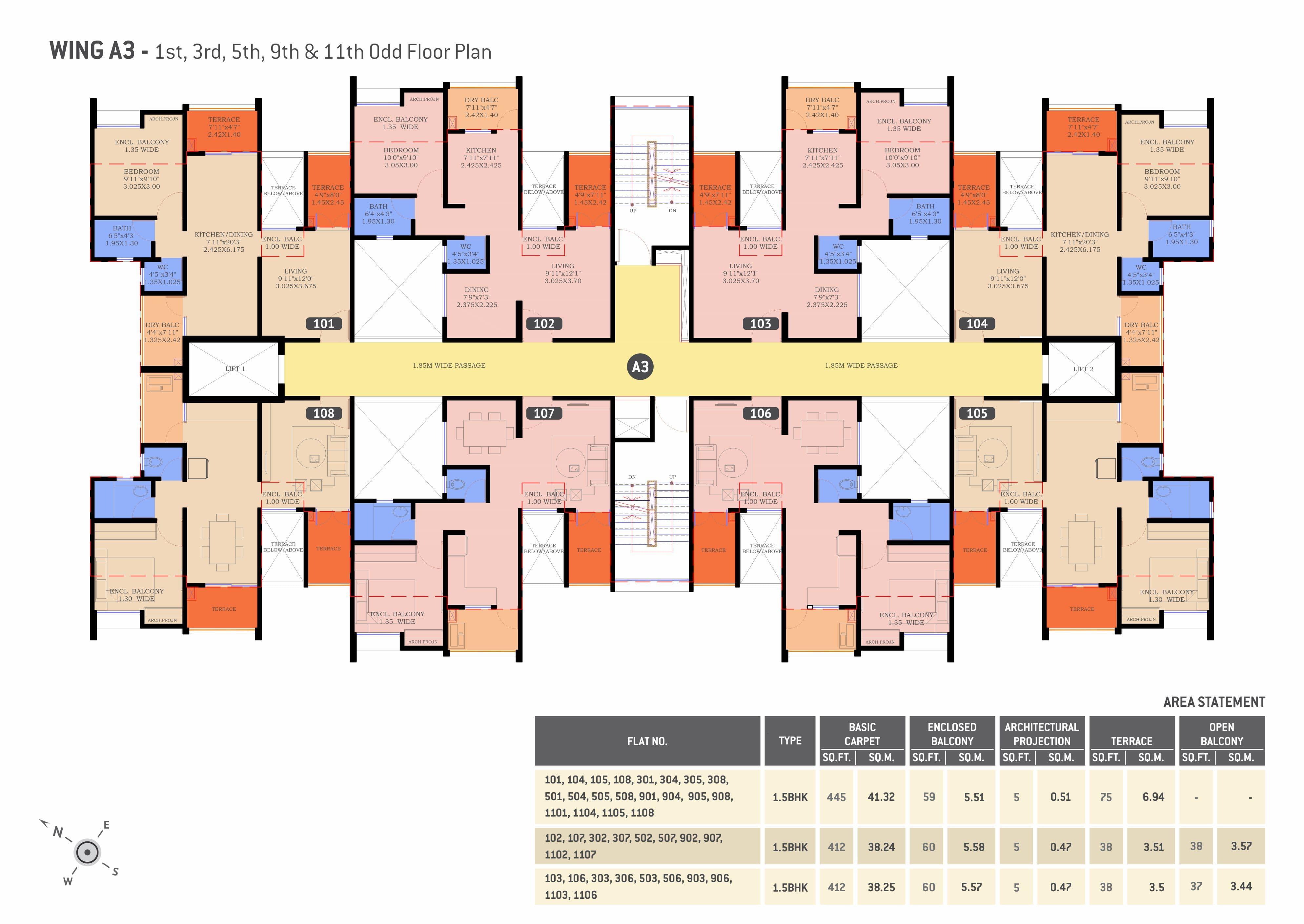1.5 BHK flats in Undri Floor Plan
