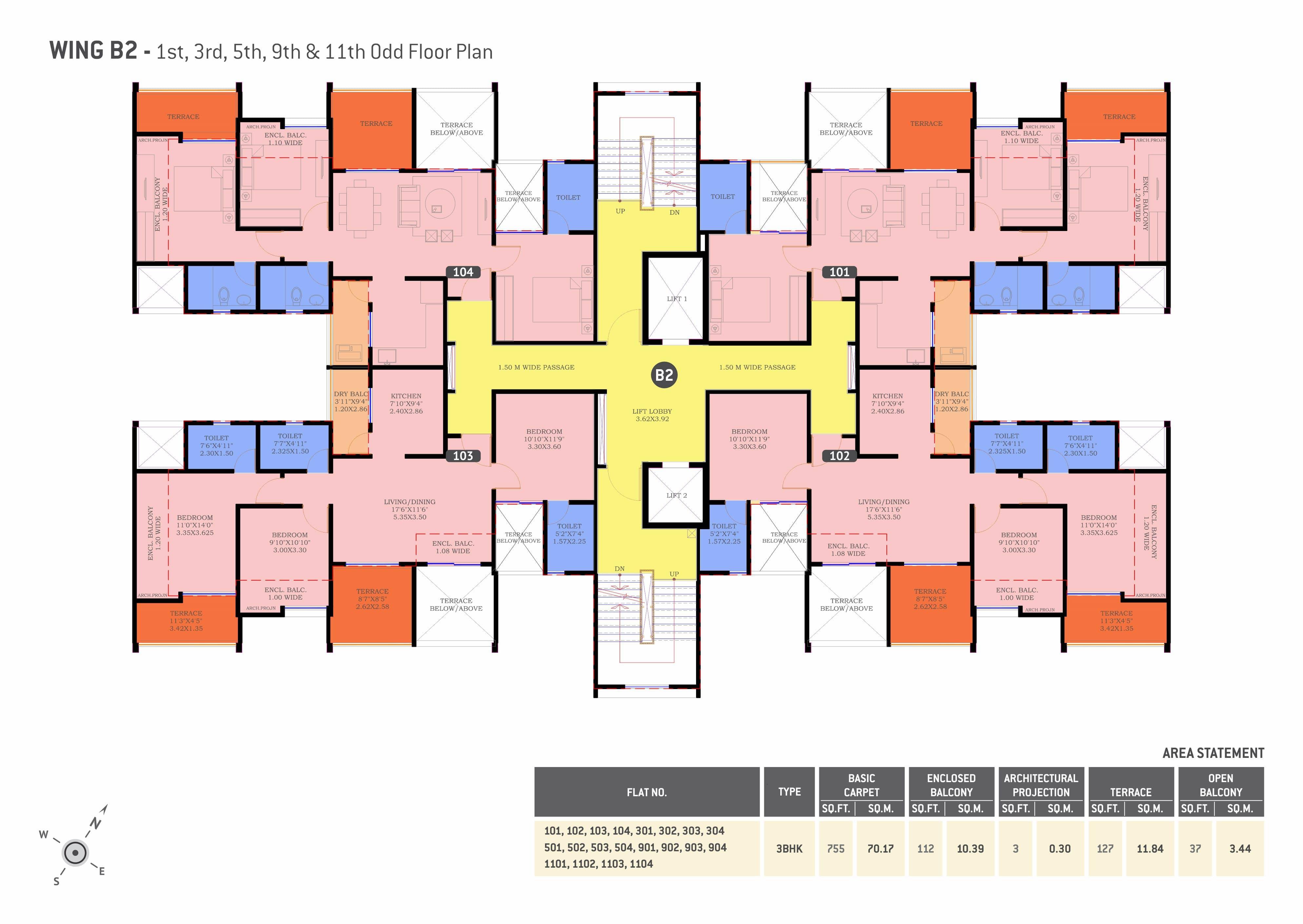 3 BHK flats in Undri Floor Plan